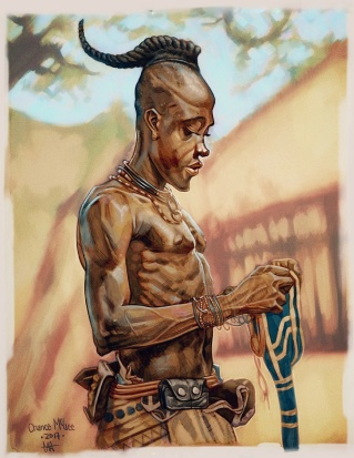 An illustration done to capture a more subtle moment of the life of a young man in Africa.
