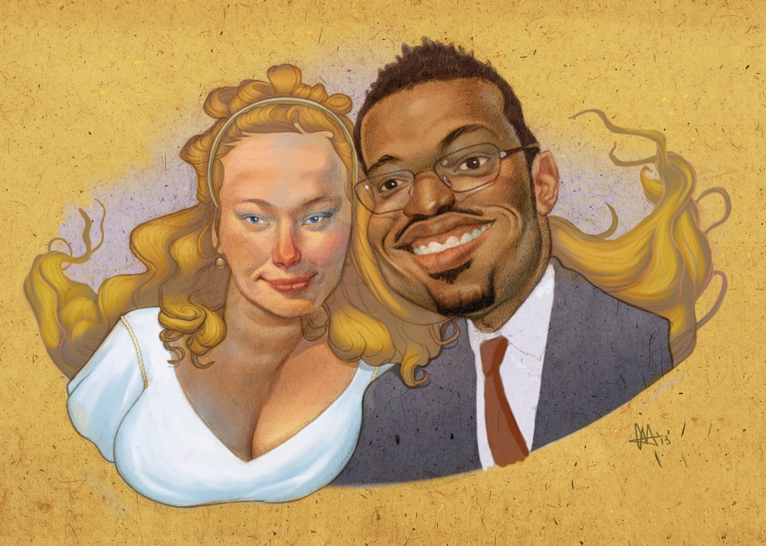 A 2 person colored caricature of my wife and I.
